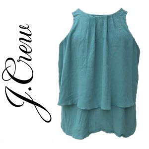 J. CREW Spring Green Tiered Crepe Sleeveless Top 0